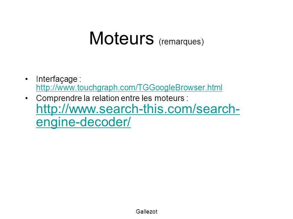 Moteurs (remarques) Interfaçage : http://www.touchgraph.com/TGGoogleBrowser.html.