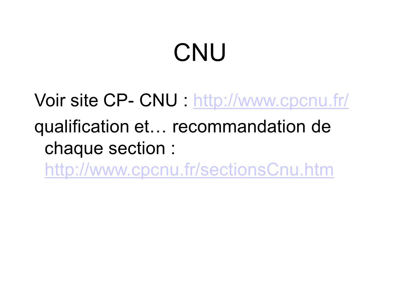 CNU Voir site CP- CNU : http://www.cpcnu.fr/