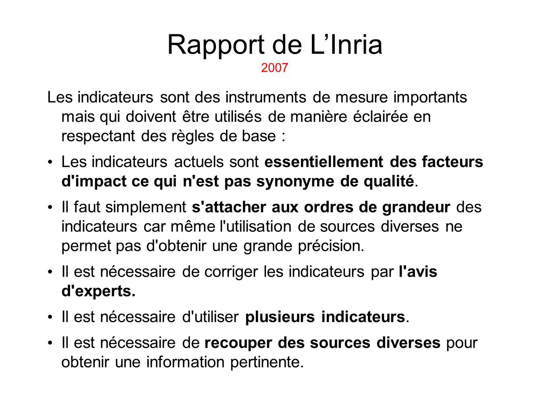 Rapport de L'Inria 2007