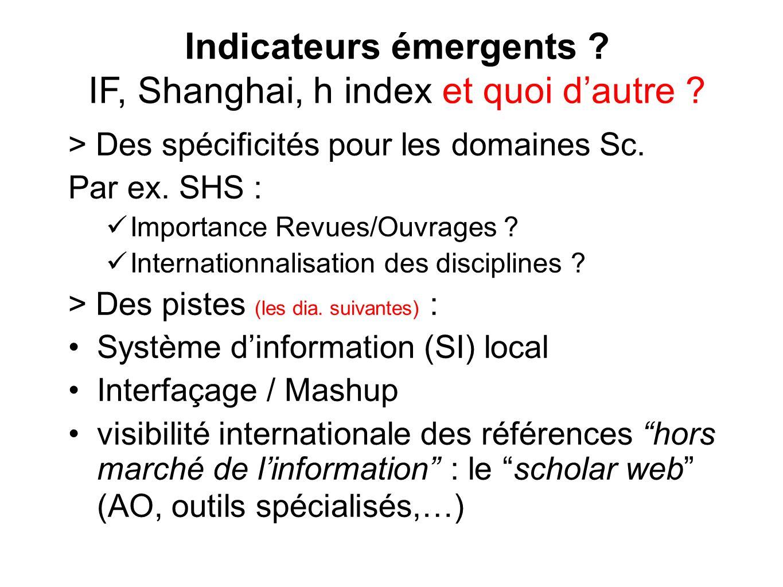 Indicateurs émergents IF, Shanghai, h index et quoi d'autre