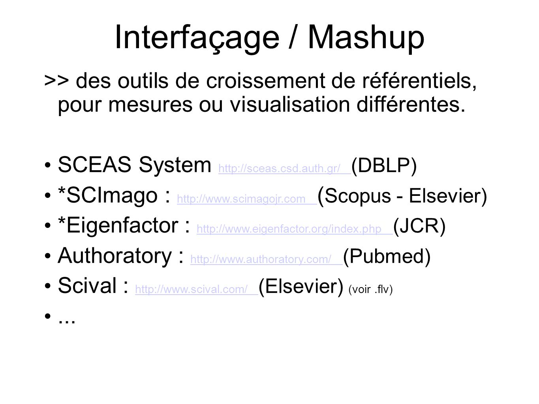 Interfaçage / Mashup >> des outils de croissement de référentiels, pour mesures ou visualisation différentes.