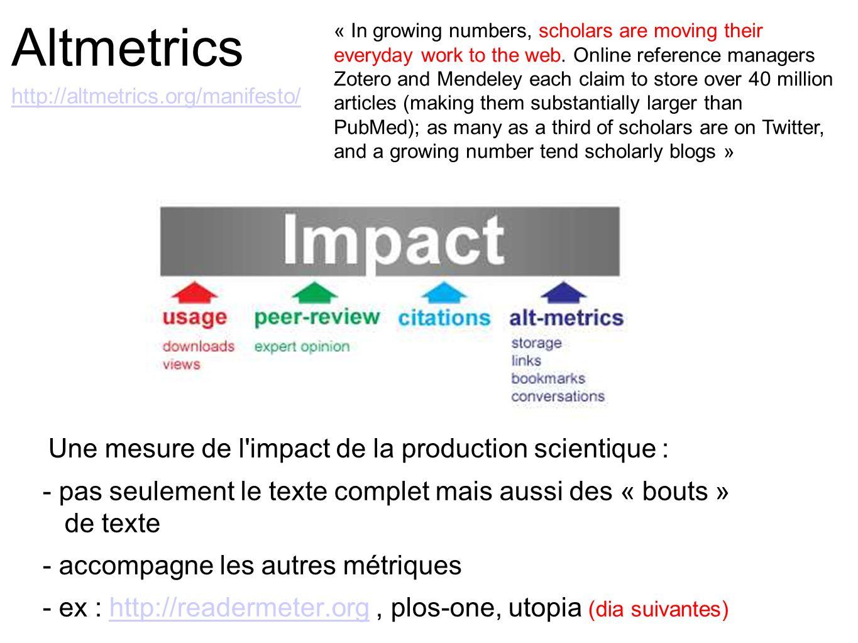 Altmetrics http://altmetrics.org/manifesto/