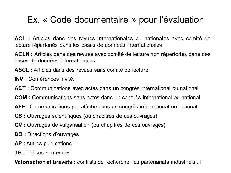 Ex. « Code documentaire » pour l'évaluation