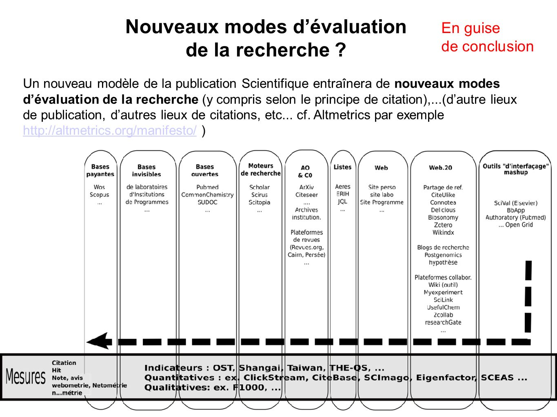 Nouveaux modes d'évaluation de la recherche