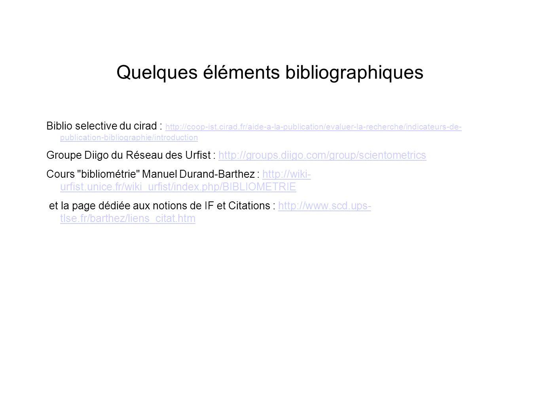 Quelques éléments bibliographiques