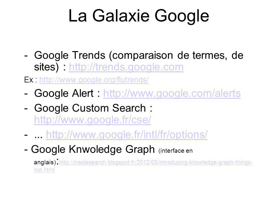 La Galaxie Google Google Trends (comparaison de termes, de sites) :   Ex :