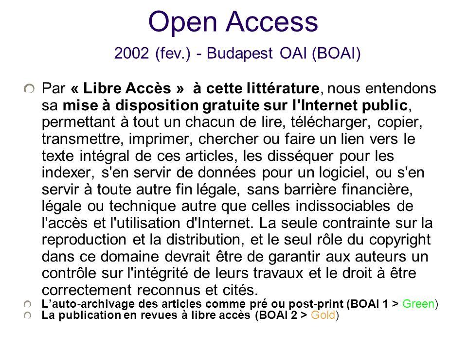 Open Access 2002 (fev.) - Budapest OAI (BOAI)