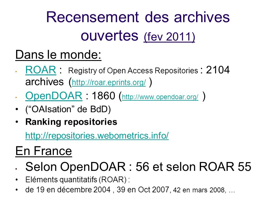 Recensement des archives ouvertes (fev 2011)