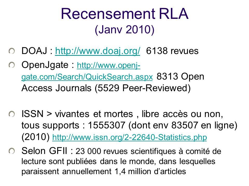 Recensement RLA (Janv 2010)