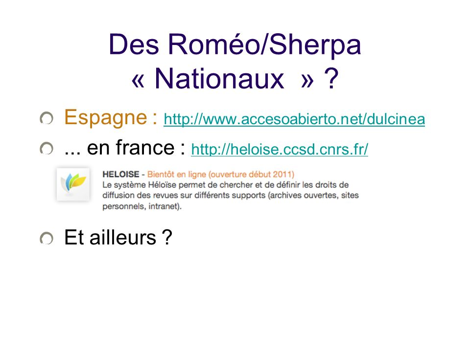 Des Roméo/Sherpa « Nationaux »