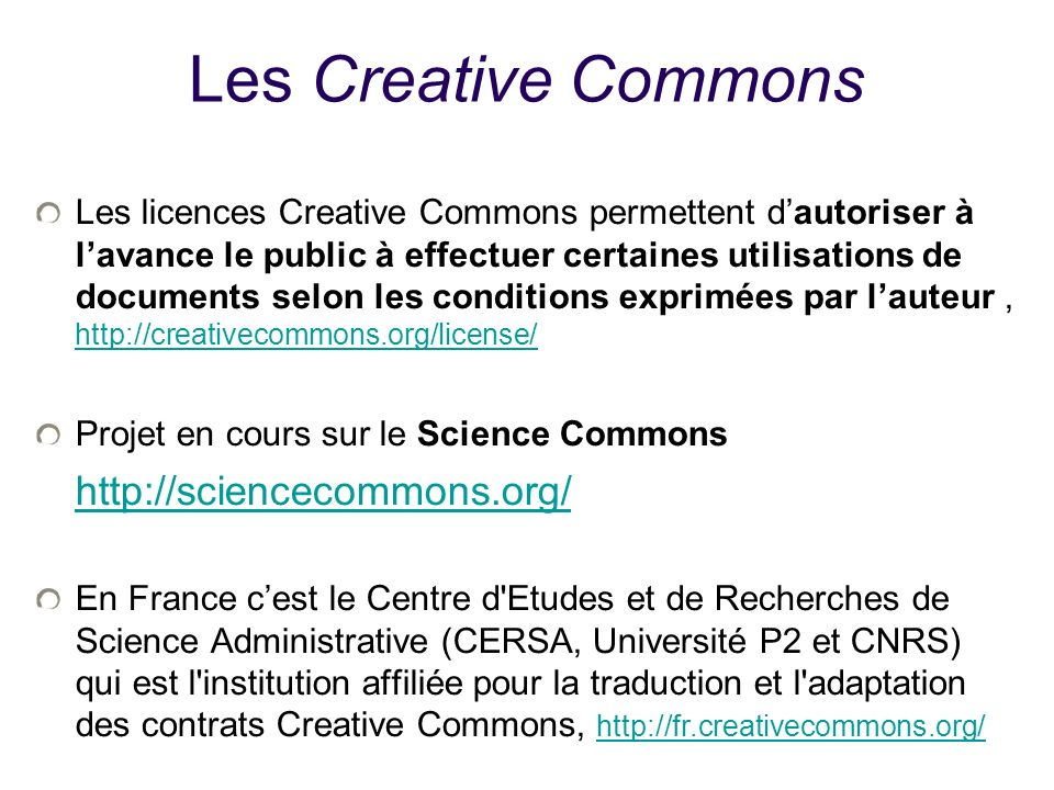 25/01/10Les Creative Commons.