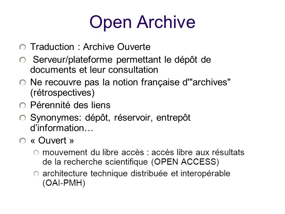 Open Archive Traduction : Archive Ouverte