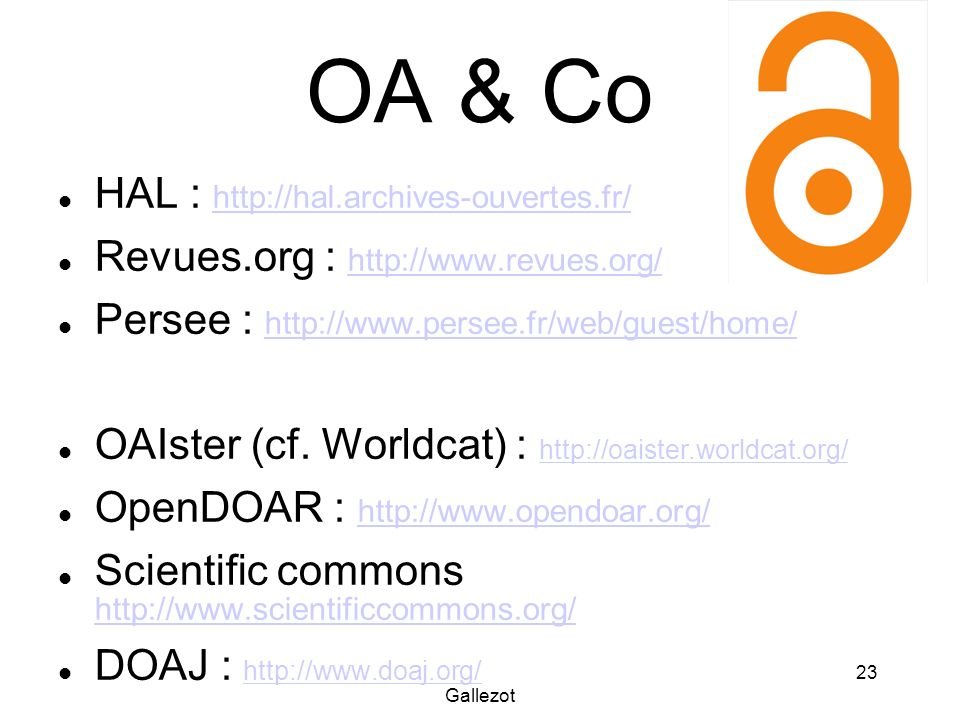 OA & Co HAL : http://hal.archives-ouvertes.fr/