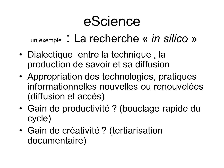 eScience un exemple : La recherche « in silico »