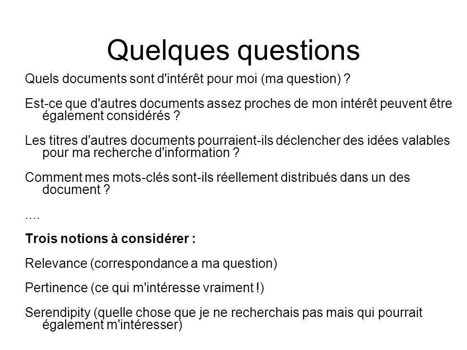 Quelques questions Quels documents sont d intérêt pour moi (ma question)