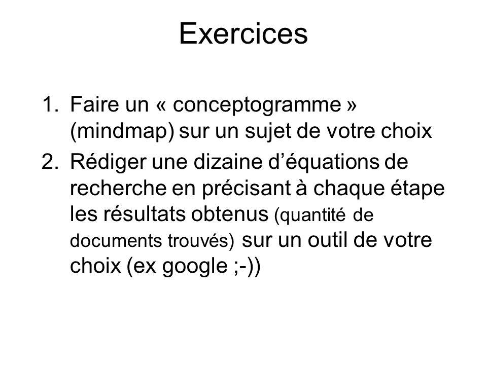 Exercices Faire un « conceptogramme » (mindmap) sur un sujet de votre choix.