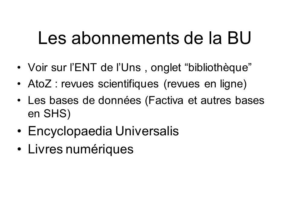 Les abonnements de la BU