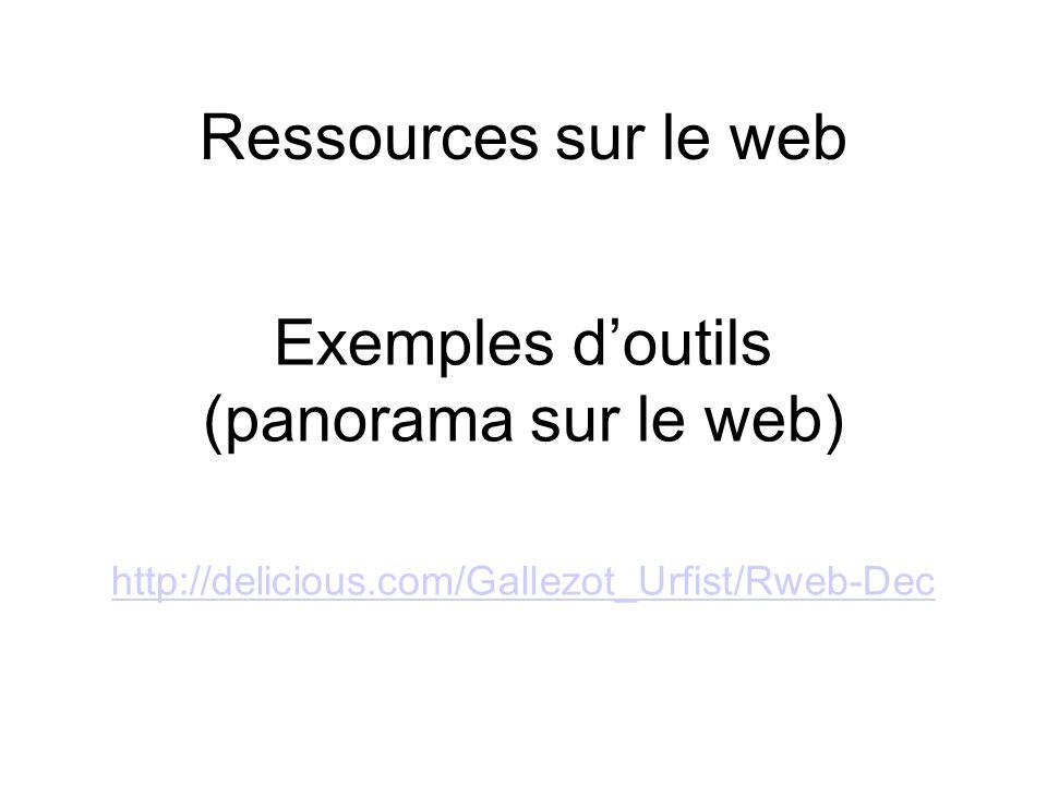 Ressources sur le web Exemples d'outils (panorama sur le web) http://delicious.com/Gallezot_Urfist/Rweb-Dec.