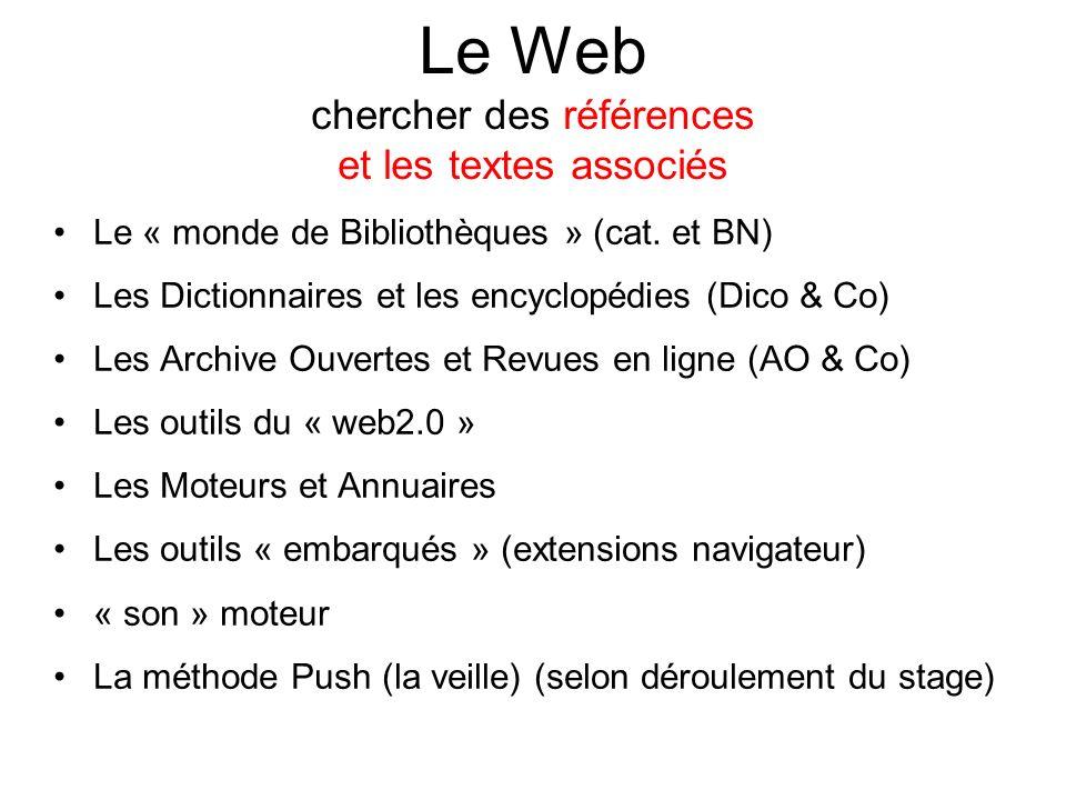 Le Web chercher des références et les textes associés