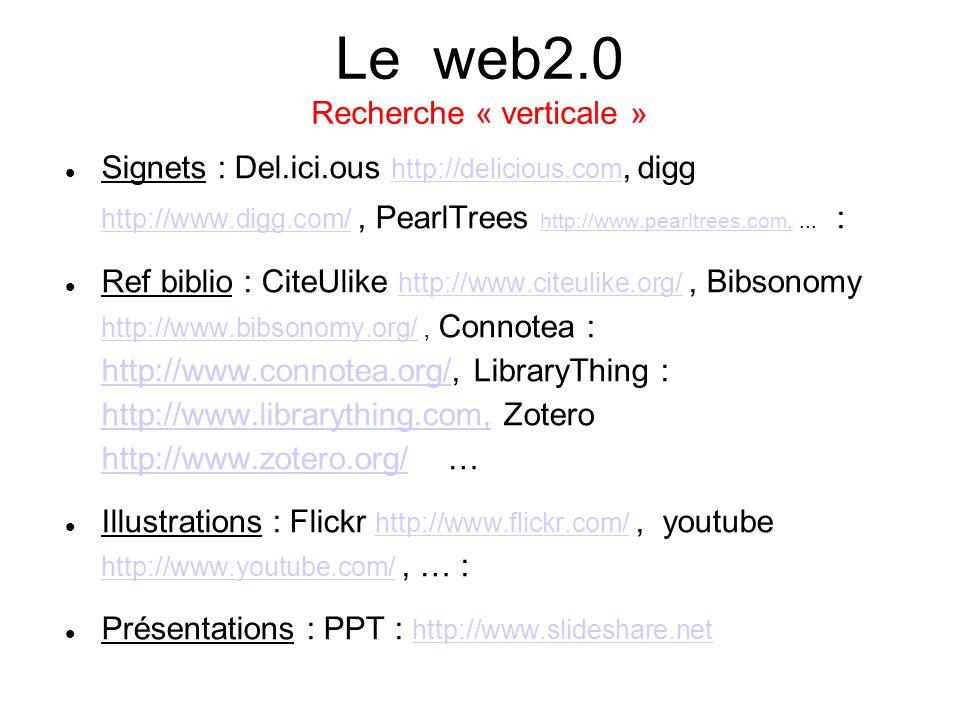 Le web2.0 Recherche « verticale »