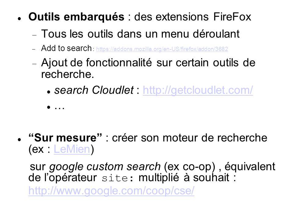Outils embarqués : des extensions FireFox