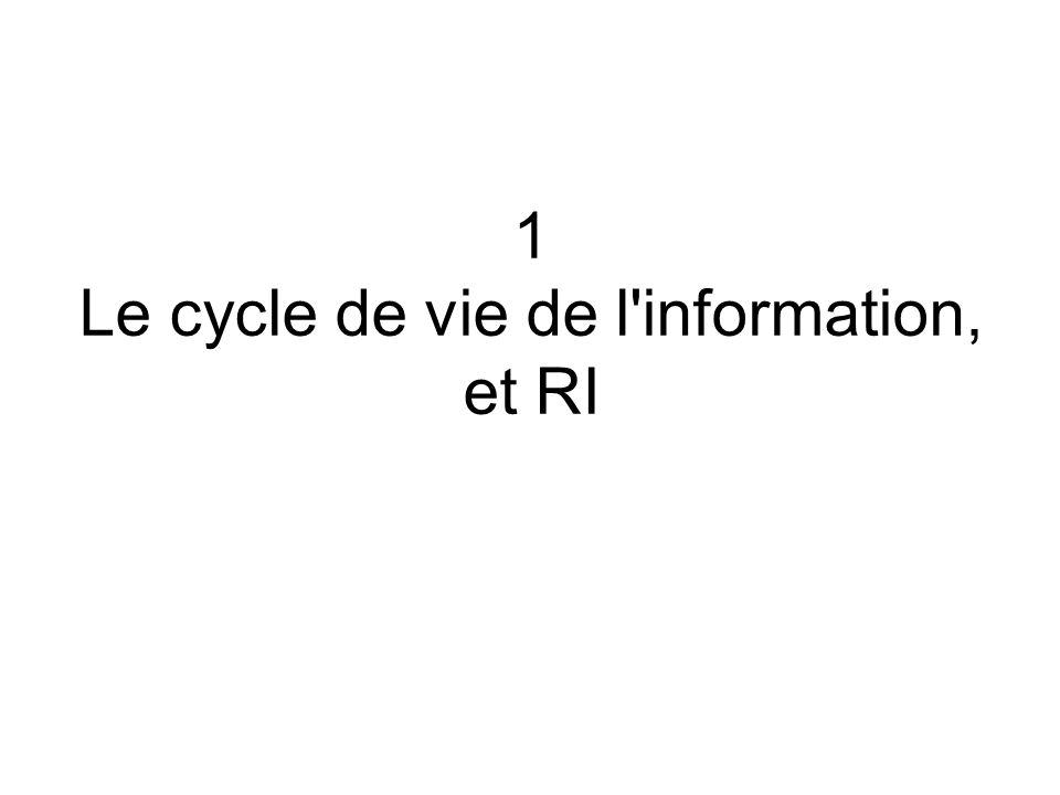 1 Le cycle de vie de l information, et RI