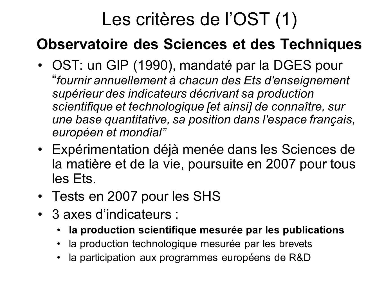 Les critères de l'OST (1) Observatoire des Sciences et des Techniques