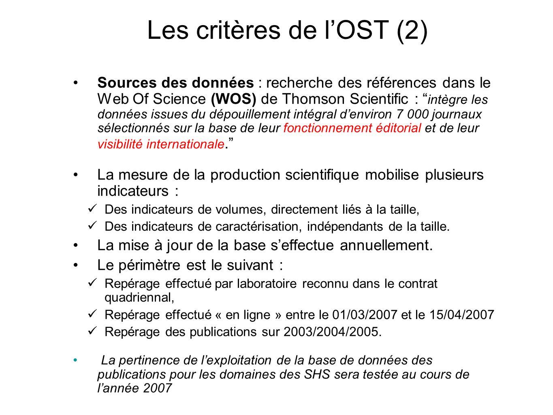 Les critères de l'OST (2)