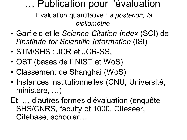 … Publication pour l'évaluation Evaluation quantitative : a posteriori, la bibliométrie