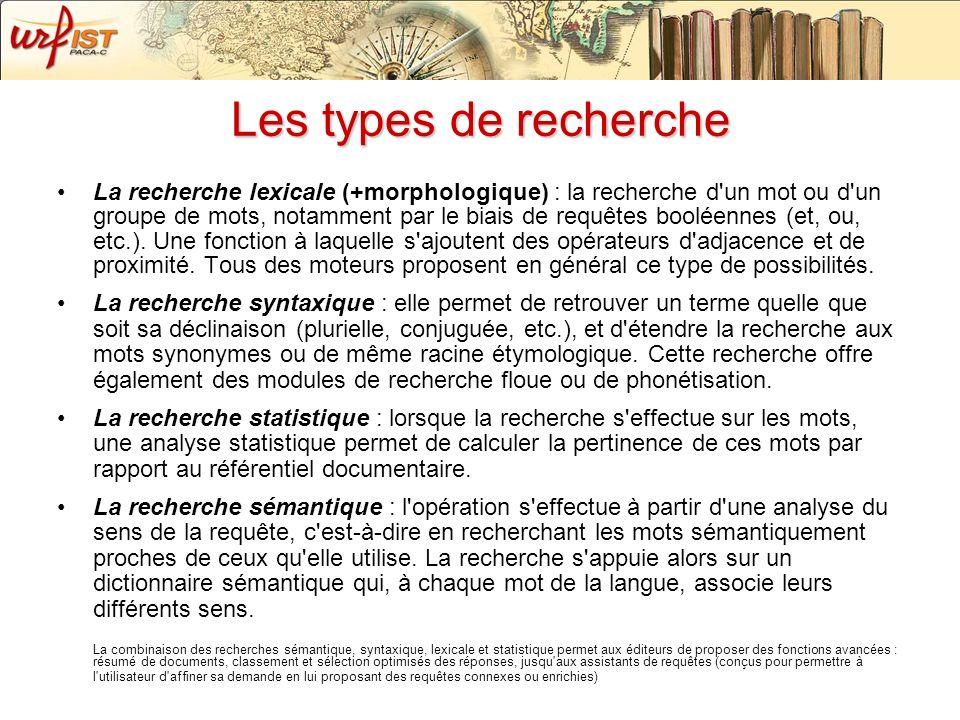 29/11/07 Les types de recherche.