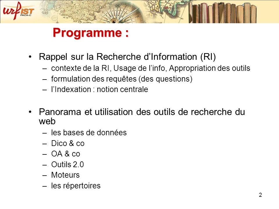 Programme : Rappel sur la Recherche d'Information (RI)
