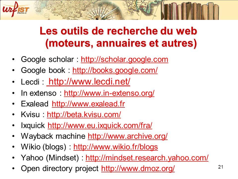 Les outils de recherche du web (moteurs, annuaires et autres)