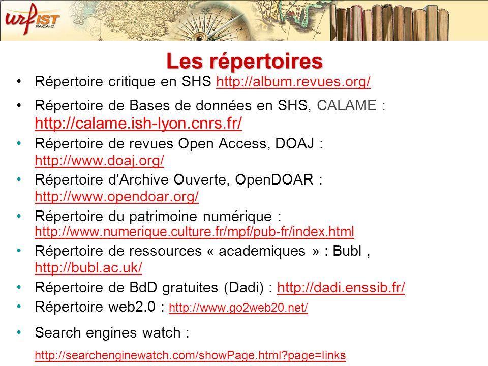 Les répertoires Répertoire critique en SHS http://album.revues.org/