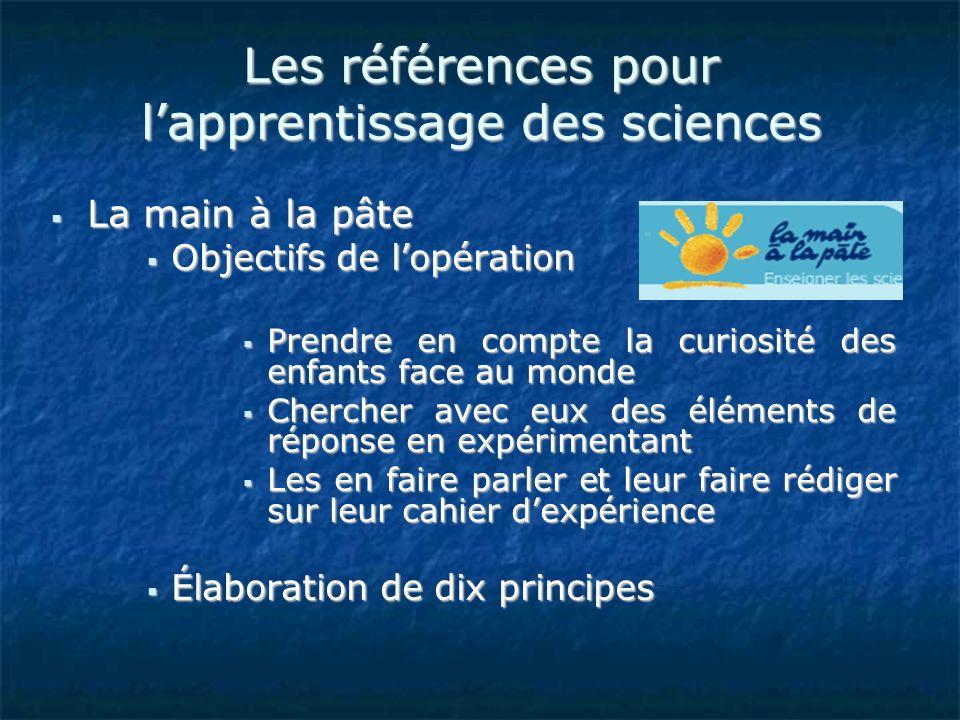 Les références pour l'apprentissage des sciences