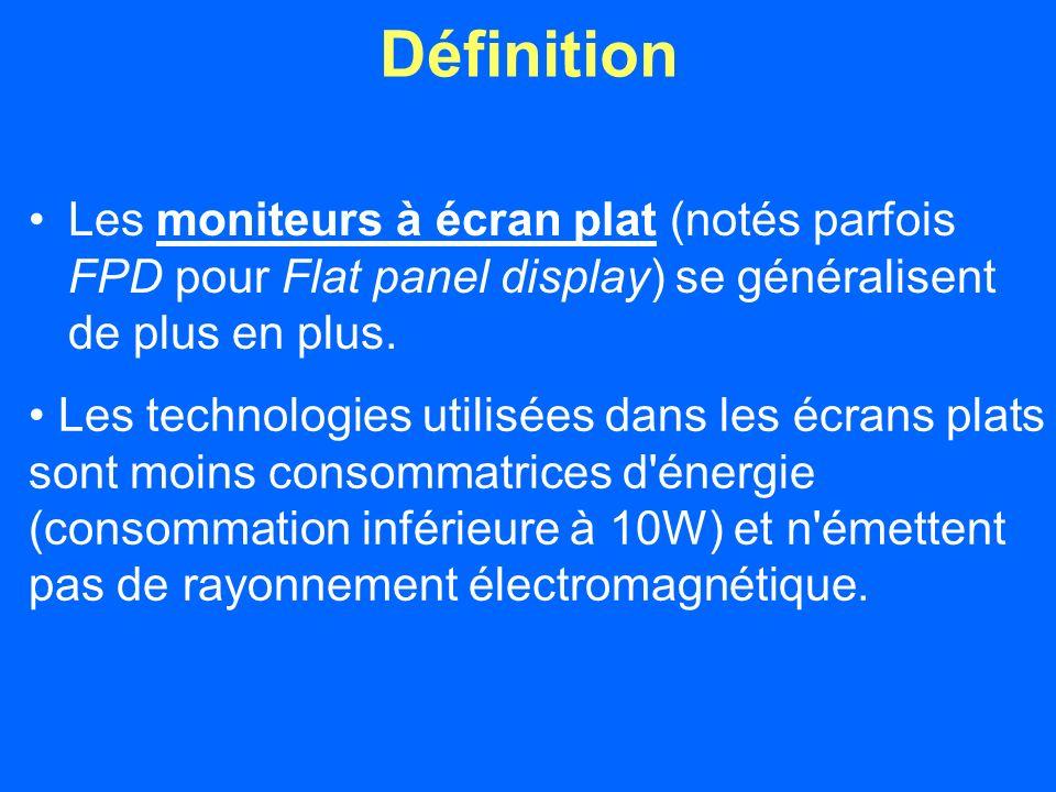 Définition Les moniteurs à écran plat (notés parfois FPD pour Flat panel display) se généralisent de plus en plus.