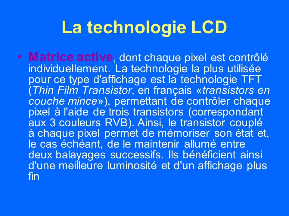 La technologie LCD