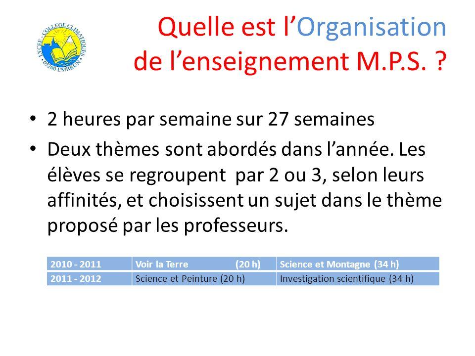 Quelle est l'Organisation de l'enseignement M.P.S.