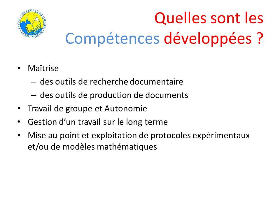 Quelles sont les Compétences développées