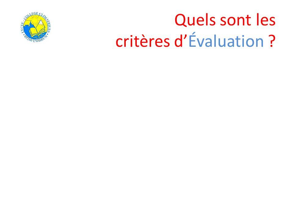 Quels sont les critères d'Évaluation