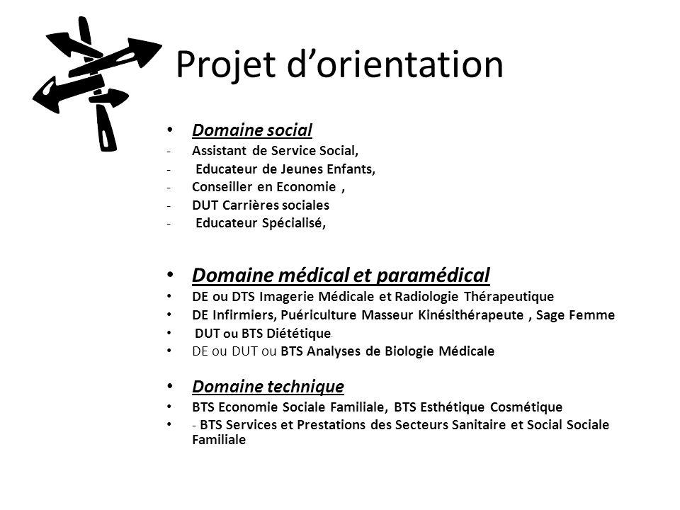Projet d'orientation Domaine médical et paramédical Domaine social