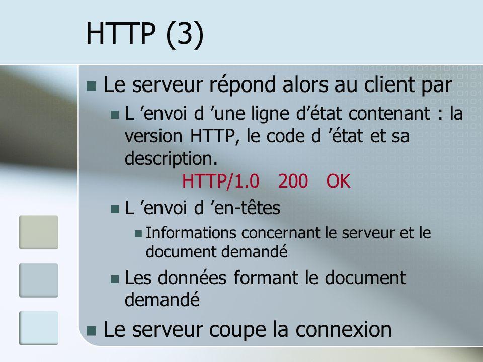 HTTP (3) Le serveur répond alors au client par