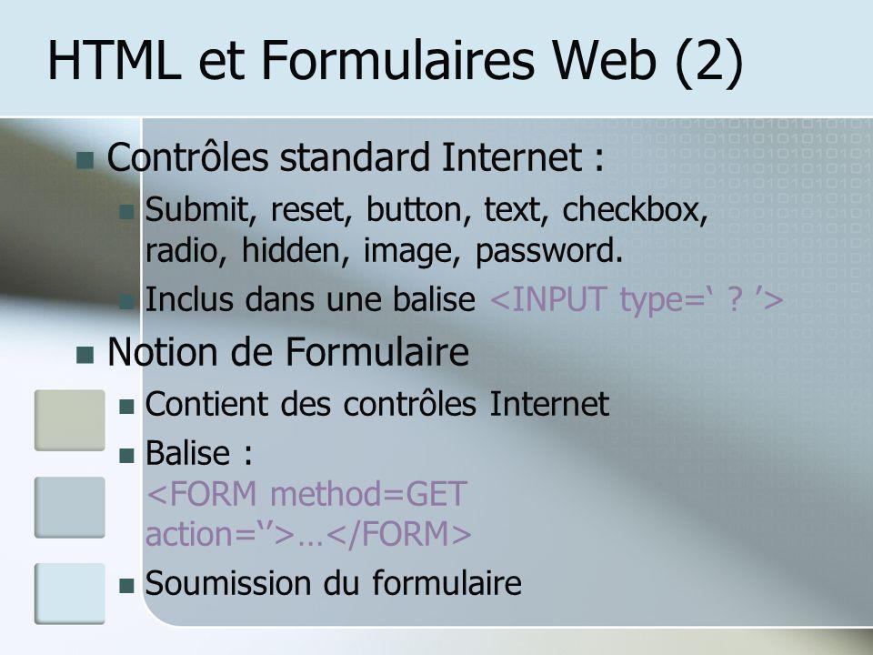 HTML et Formulaires Web (2)