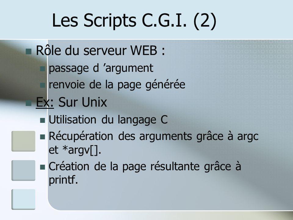 Les Scripts C.G.I. (2) Rôle du serveur WEB : Ex: Sur Unix