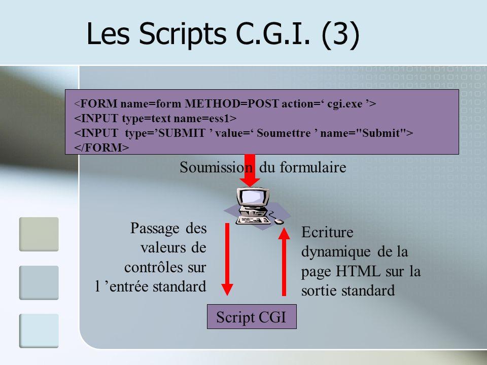 Les Scripts C.G.I. (3) Soumission du formulaire