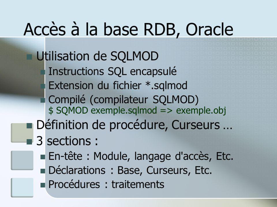 Accès à la base RDB, Oracle