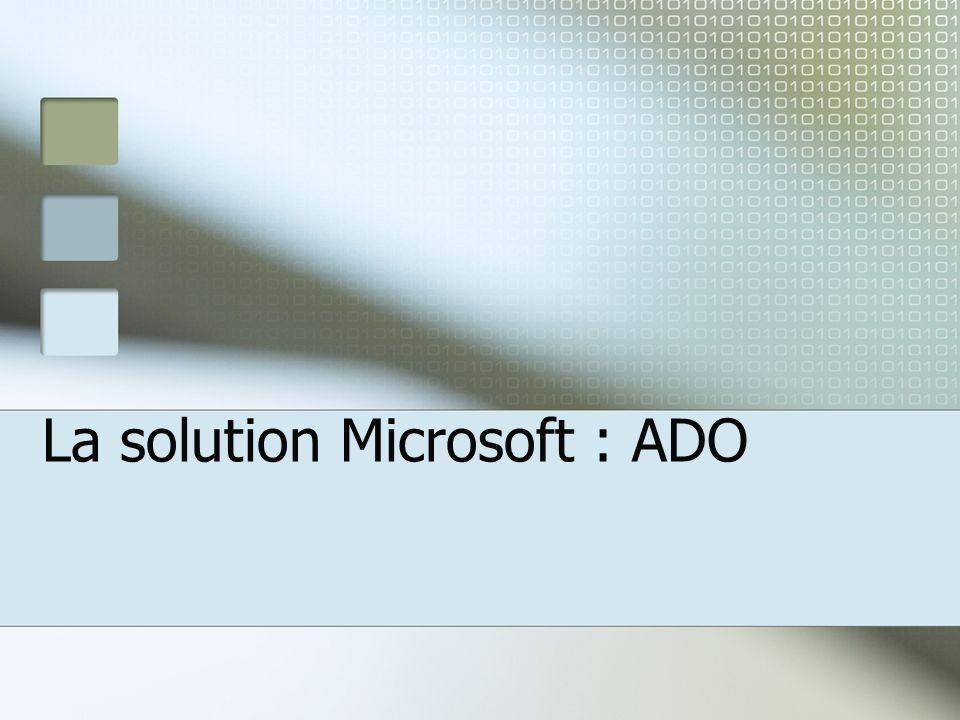 La solution Microsoft : ADO