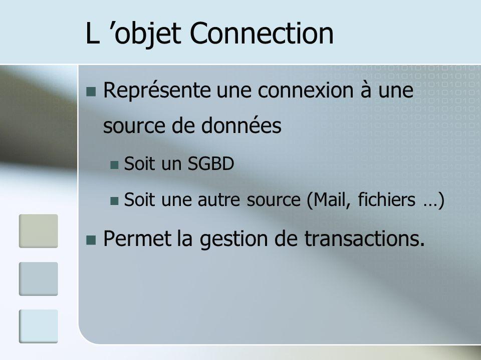 L 'objet Connection Représente une connexion à une source de données