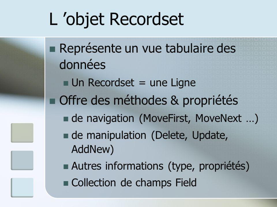 L 'objet Recordset Représente un vue tabulaire des données