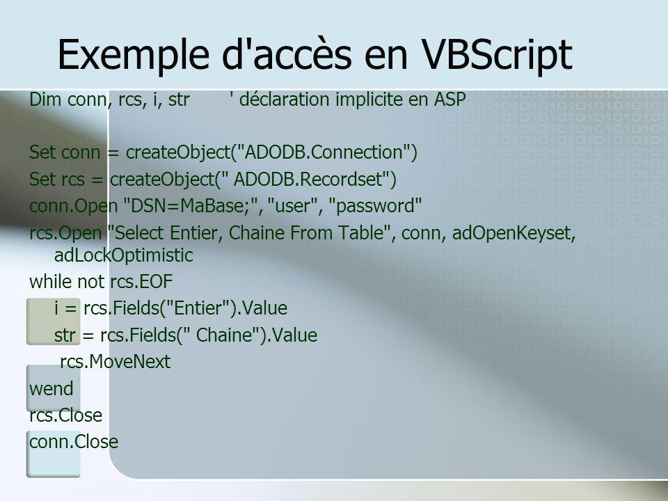 Exemple d accès en VBScript