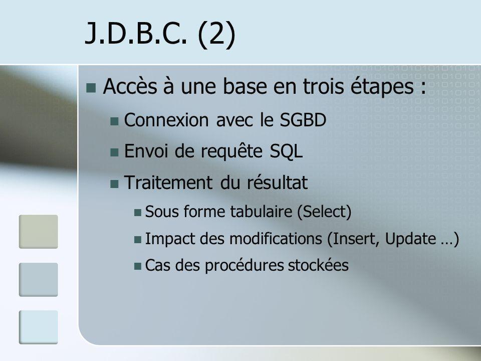 J.D.B.C. (2) Accès à une base en trois étapes : Connexion avec le SGBD